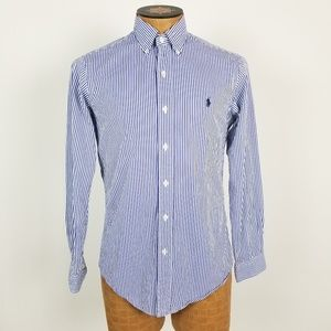 Ralph Lauren Blue Striped Custom Fit Button Down
